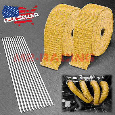 "Yellow W 2/"" x 50FT Exhaust Header Fiberglass Heat Wrap Tape w// 5 Steel Ties"