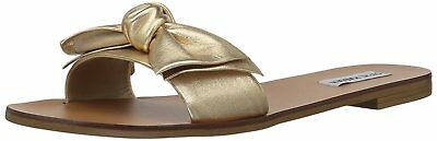 c109b0b8632 STEVE MADDEN WOMENS Knotss Bow Sandals Gold Leather 8.5M NEW IN BOX ...