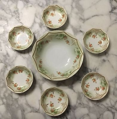 Large Victorian Berry Bowl w/Set of 6 Antique PK Silesia Berry Bowls - Roses