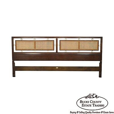 Michael Taylor for Baker Mid Century Walnut Cane & Brass King Size Headboard