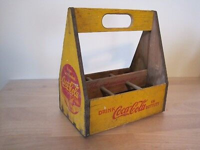 1940's Wood COCA COLA 6 Pack Carrier WWII Wings Yellow Red