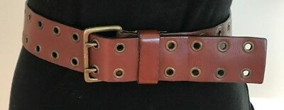 A&F Abercrombie and Fitch Genuine Leather Belt Warm Brown Antique Brass