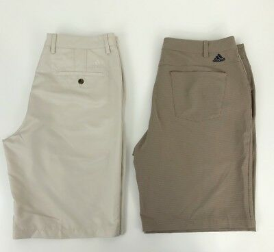 Adidas Lot of 2 Mens Size 34 Flat Front Golf Shorts Ivory Brown with Black Check
