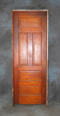 "Original Antique Stained 5 Panel Pine Door in Jamb 30"" x 83"", Vintage"