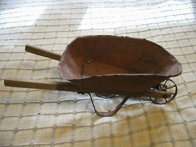 Antique Primitive Toy Red Tin Metal And Wood Wheelbarrow