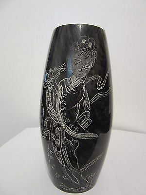 """8"""" Beautiful Dark Gray Marble Vase With White Etching Depicting Young Woman"""