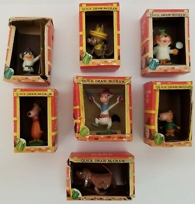7 Vintage 1961 Marx TV Quick Draw McGraw Tinykins in original boxes