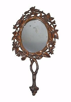 Antique Floral and Leaf Carved Reticulated Hand Mirror, Black Forest, German.