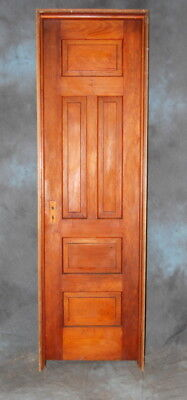 "Original Antique Stained 5 Panel Pine Closet Door in Jamb, Vintage 24"" x 83 1/2"""
