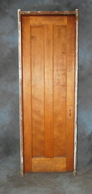 "Original Antique 2 Panel Stained Birch Door in Jamb, Vintage 28"" x 84"""