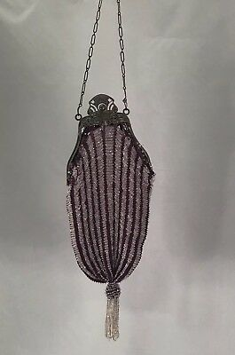 Antique Victorian Crocheted Glass Beaded Purse Ornate Floral Metal Frame Purple