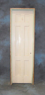 "Original Antique 6 Panel Pine Painted Door in Jamb 24"" x 84"" Vintage"