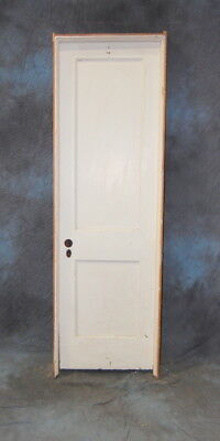 "Original Antique 2 Panel Painted Pine Door in Jamb, 24"" x 80"" Vintage"