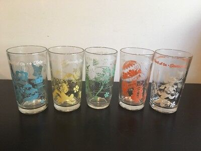 Vintage Lot of 5 Swift and Co. Peanut Butter Wizard of Oz Glasses Tumblers 1950s