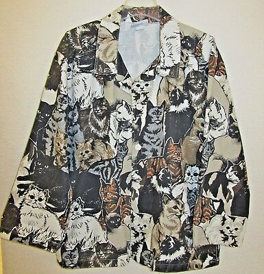 Vintage Michigan Rag Co. Women's S/M Jacket Button Multi Cat Lady Overall Print