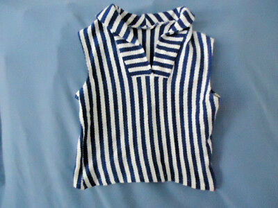 NAVY BLUE & WHITE STRIPED VTG 60s 70s SUMMER Cotton TOP XS/S CHILD WOMENS SIZE 0