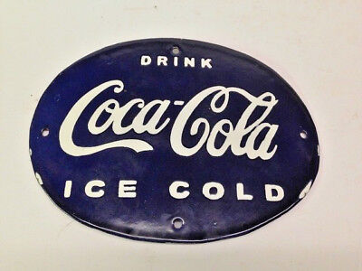 Vintage Porcelain Enamel Blue Oval Coca Cola Metal Store Sign