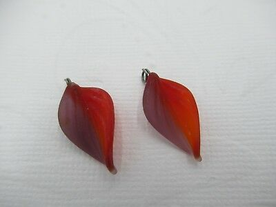 Glass Leaf Charms - Leaves with Silver Loops - 18mm X 12mm - Purple & Ruby Red
