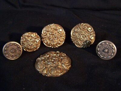 Lot of 6 Antique Vintage BRASS Knobs Drawer Hardware Pulls Ornate Round