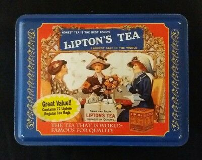 Vintage Lipton's Tea Limited Edition Metal Tin Can Storage Container Collections