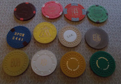 LOT OF 12 mixed casino hotel gaming chips
