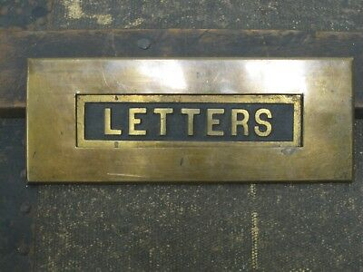 Vintage Brass Door Mail Slot with LETTERS in relief on the flap
