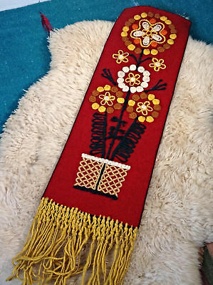 MID CENTURY crewel Wall Hanging 3D embroidery Tapestry mod MCM red vtg 60s 70s