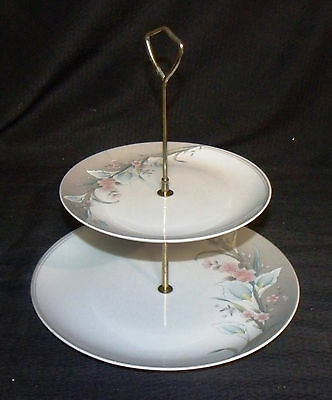 fine china  gray rhapsody two tier serving tray made in japan