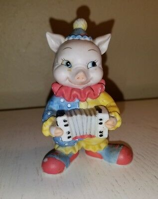 1994 BC Bronson Collectible Pig Tales Clown with Accordion Figurine Sri Lanka