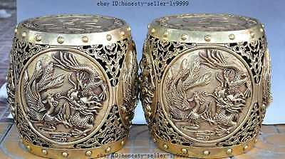 "10""chinese brass Dragon Phoenix Magpie Plum flower lucky statue Stool Chair Seat"