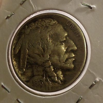 U.S. 1916, Buffalo Nickel, Indian Head 5 Cents Copper Coin, Rare Vintage