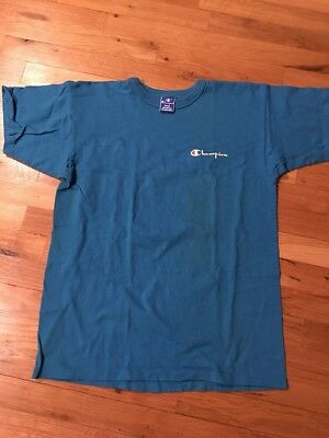 4a68a6e51467 Vintage CHAMPION Shirt Sz LARGE Blue SPELL OUT LOGO 90s Short Sleeve Mens