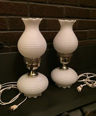 Pair of Vintage White Milk Glass Table Hurricane Lamps - Wafffle / Corn Row