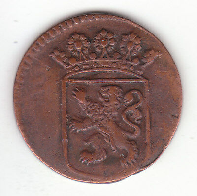 1735 Dutch New York Penny Holland Arms 1 Duit Colonial Coin.