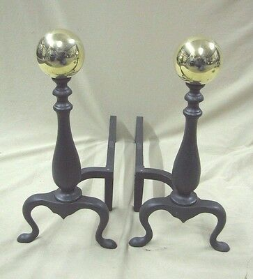 Vintage Fireplace AMS Brass Ball Andirons