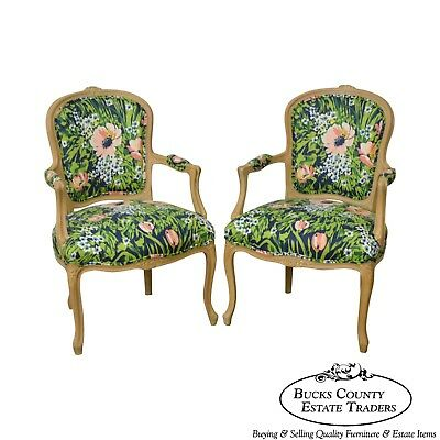 Woodmark French Louis XV Style Pair of Custom Upholstered Arm Chairs (B)