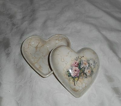 TH Athena California Heart Shaped Trinket Box Pink Cream Roses Bouquet Pottery