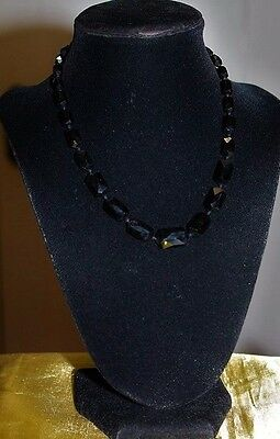 Antique Edwardian French Jet Mourning Glass Faceted Cut Choker Necklace NG1