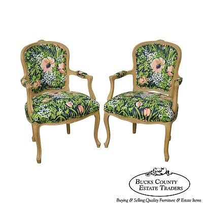 Woodmark French Louis XV Style Pair of Custom Upholstered Arm Chairs (C)