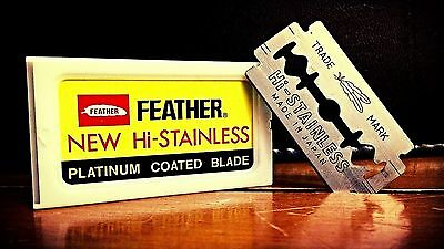 5 FEATHER Hi-Stainless Platinum Double Edge Razor Blades-  MADE IN JAPAN