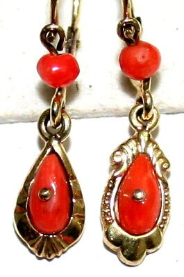 2 Single Antique Victorian 9K Gold Salmon Coral Small Fine Dangle Earrings 1900