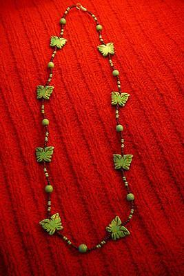 Native American Indian - Detailed Butterflies with Traditional Beads Necklace