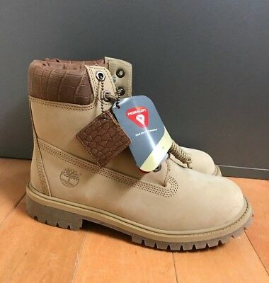 Timberland 6 Inch 6'' Premium Boot Beige Limited Gs Kids Youth Sz 4-7Y  Tb0A1Rri