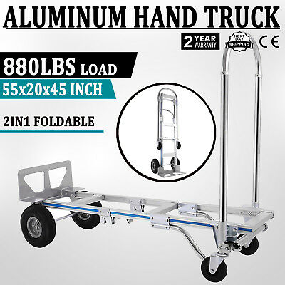 USA SHIP Hand Truck Dolly 2-In-1 Convertible Hand Truck 2 to 4 Wheeler Aluminum