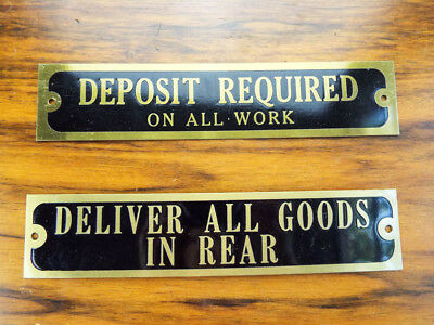 2 Vintage Brass Black Small Signs Metal Wall Plaques Deposit Required Good Rear