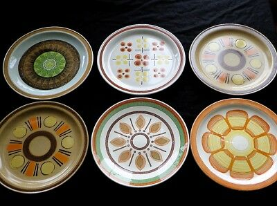 Lot of SIX  Mix and Match Mid-Century Modern Ceramic Dinner Plates - Collection