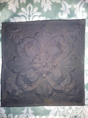 One Antique ceiling tin tile. Vintage ceiling tile. 12in x 12in