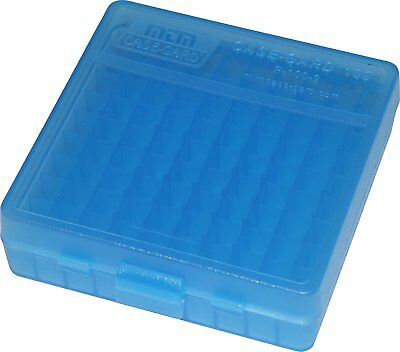 NEW MTM 100 Round Flip-Top 380/9MM Ammo Box - Clear Blue