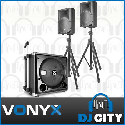 Vonyx VX840BT Active 2.1 Party PA DJ Speaker System with Bluetooth and Subwoofer