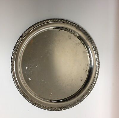 "WM Rogers Silver Plate Serving Tray 10"" Round Etched #870 Braided Rope Edge"